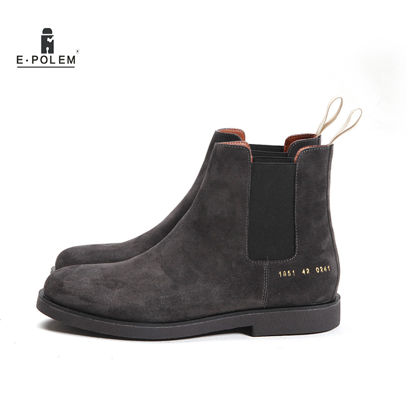 Genuine Leather Men Chelsea Boots Platform Flat Men's ...