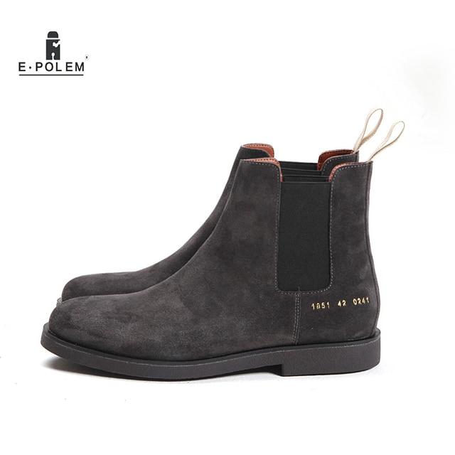 feb0a30c3838c2 Prawdziwej skóry mężczyzn Chelsea buty platformy płaskie męskie kowbojskie  zamszowe buty buty głębokie szary Apricot Slip