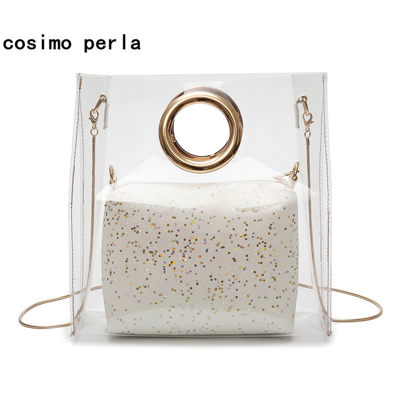 2018 New Summer Clear Composite Bag Transparent Round Handle Laser Women Handbags Fashion PVC Totes Lady Crossbody Beach Bags fashion pu composite bags handbags crossbody bag solid color versatile totes for women girl lady gl k871
