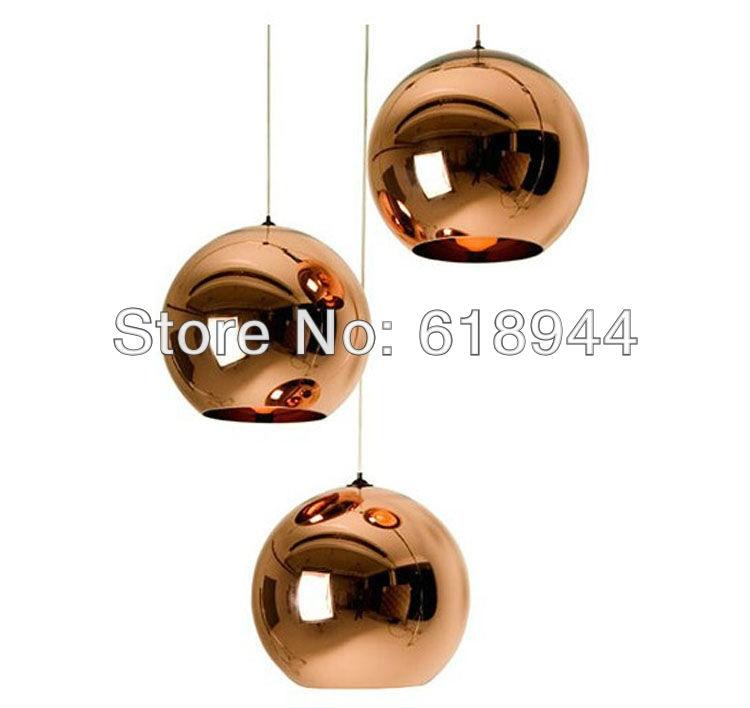 ФОТО NEW Copper Shade Mirror Chandelier Pendant Lights, E27 LED Pendant Lamp, Modern Glass Ball Golden Lighting