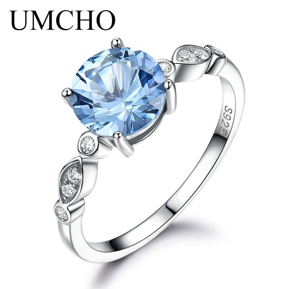 a04dbe9fc537 UMCHO romántico creado cielo azul Topacio anillos de plata esterlina 925  anillos para mujer Regalos de aniversario de boda de joyería fina