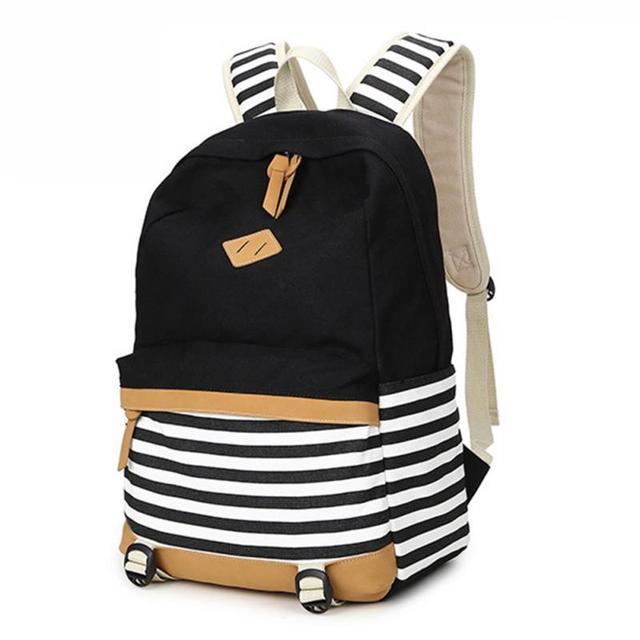 706d00468f New Girl Bags Canvas Nautical Striped Student Backpacks Rucksack Marine  Sailor Navy Stripy School Bags College Wind Shoulder Bag