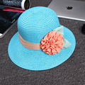 Best Gift Fashion Women's Foldable Wide Large Brim Ladies' Cap Beach Floral Sun Caps Floppy Straw Hat Summer Hats for Women Girl