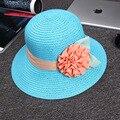 O melhor Presente de Moda Dobrável Ampla Grande Brim Cap Praia Das Senhoras das Mulheres Floral Tampas de Sol Disquete Chapéu De Palha Chapéus de Verão para As Mulheres Menina