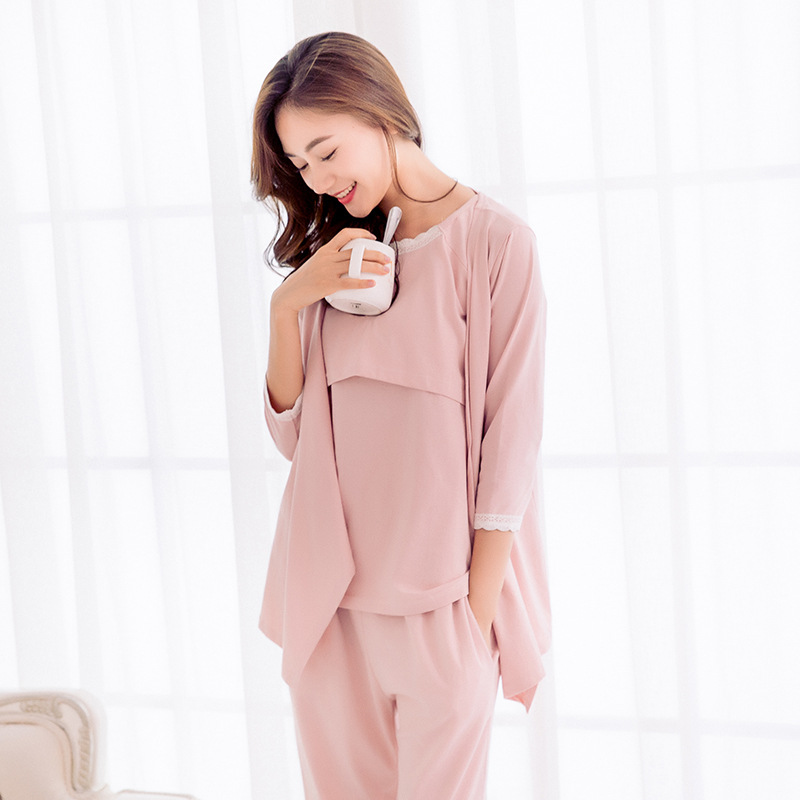 Pregnant women spring summer cotton long sleeved casual pajamas home service suit pregnant women breastfeeding