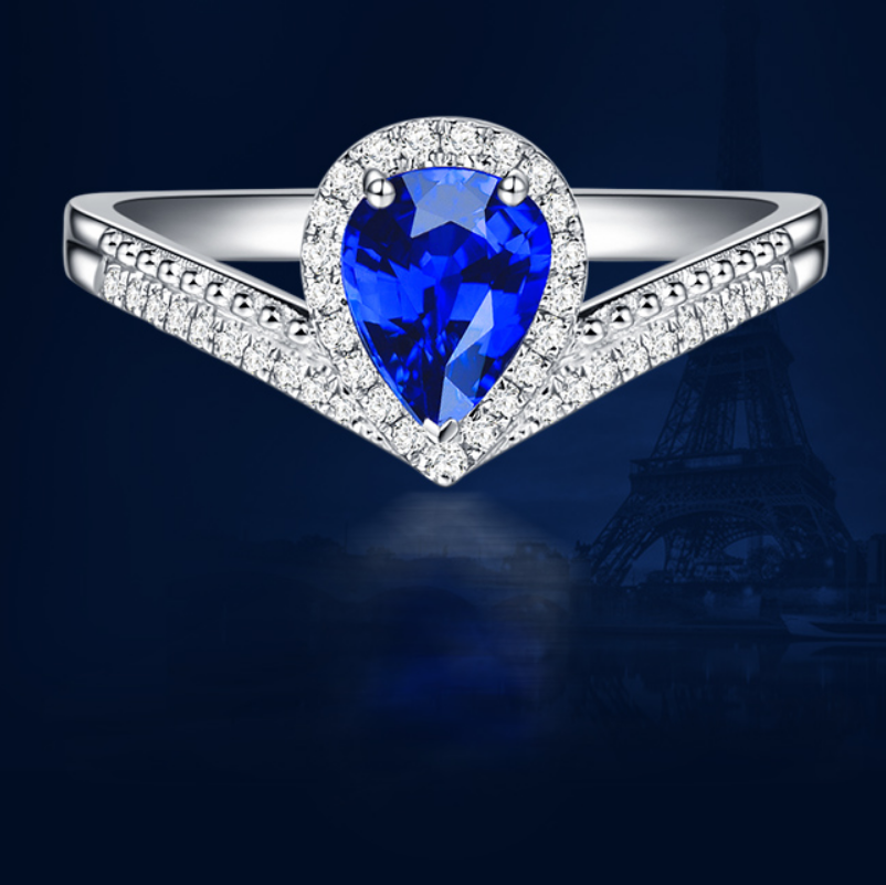 1 carat 925 sterling silver tanzanite synthetic diamond wedding ring water drops jewelry sapphire ring US size from 4.5 to 9(LA)