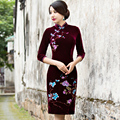 2017 new chinese women sexy cotton dress traditional silk satin cheongsam lady vintage Broadcloth formal evening qipao