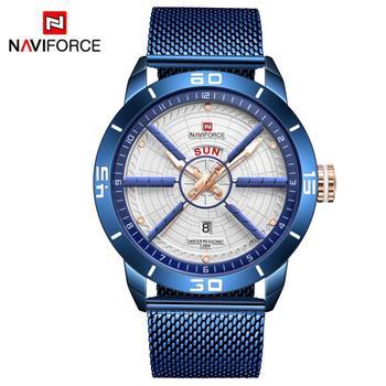 NAVIFORCE Mens Watches Top Brand Luxury Sport Watch Mesh Steel Date Week Waterproof Quartz Watch for Men Clock Relogio Masculino 5
