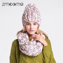 2PCS Women'S Cap Beanie Knitted Hats Neck Warmer Scarf Crochet For Women Female Cute Beanies Caps Balaclava Casquette CA903
