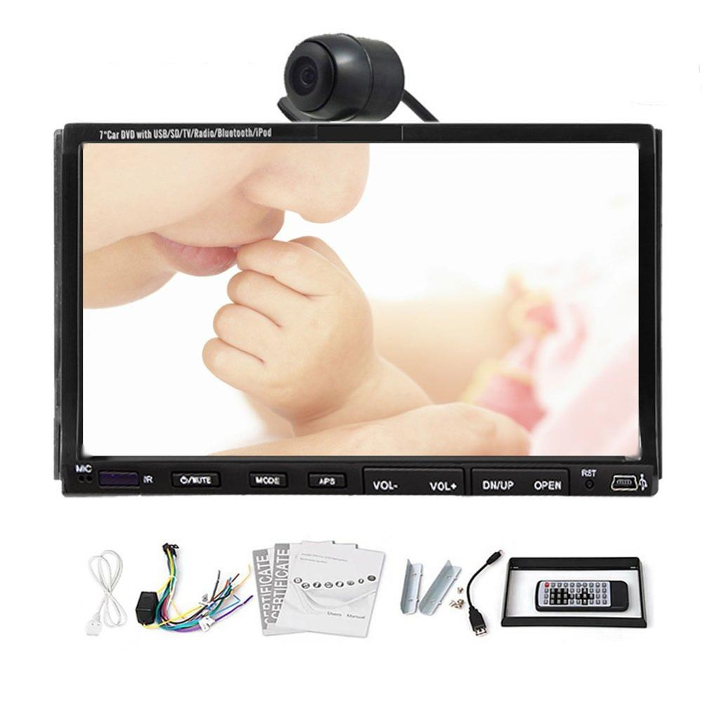 HD Double 2 Din 7 Car PC Digital Touch Screen In Dash Car Radio Stereo DVD Player Radio TV iPod Steering wheel SD+USB+Mic+AUX+B