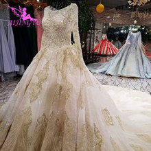 AIJINGYU Rustic Wedding Dress Long Sleeve Gowns Modest White Corset Simple Luxury 2021 2020 Real Lace Bridal Gown Price