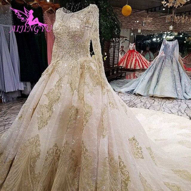 AIJINGYU ريفي فستان الزفاف كم طويل فساتين متواضعة الأبيض مشد بسيط فاخر 2021 2020 ريال الدانتيل فستان زفاف السعر