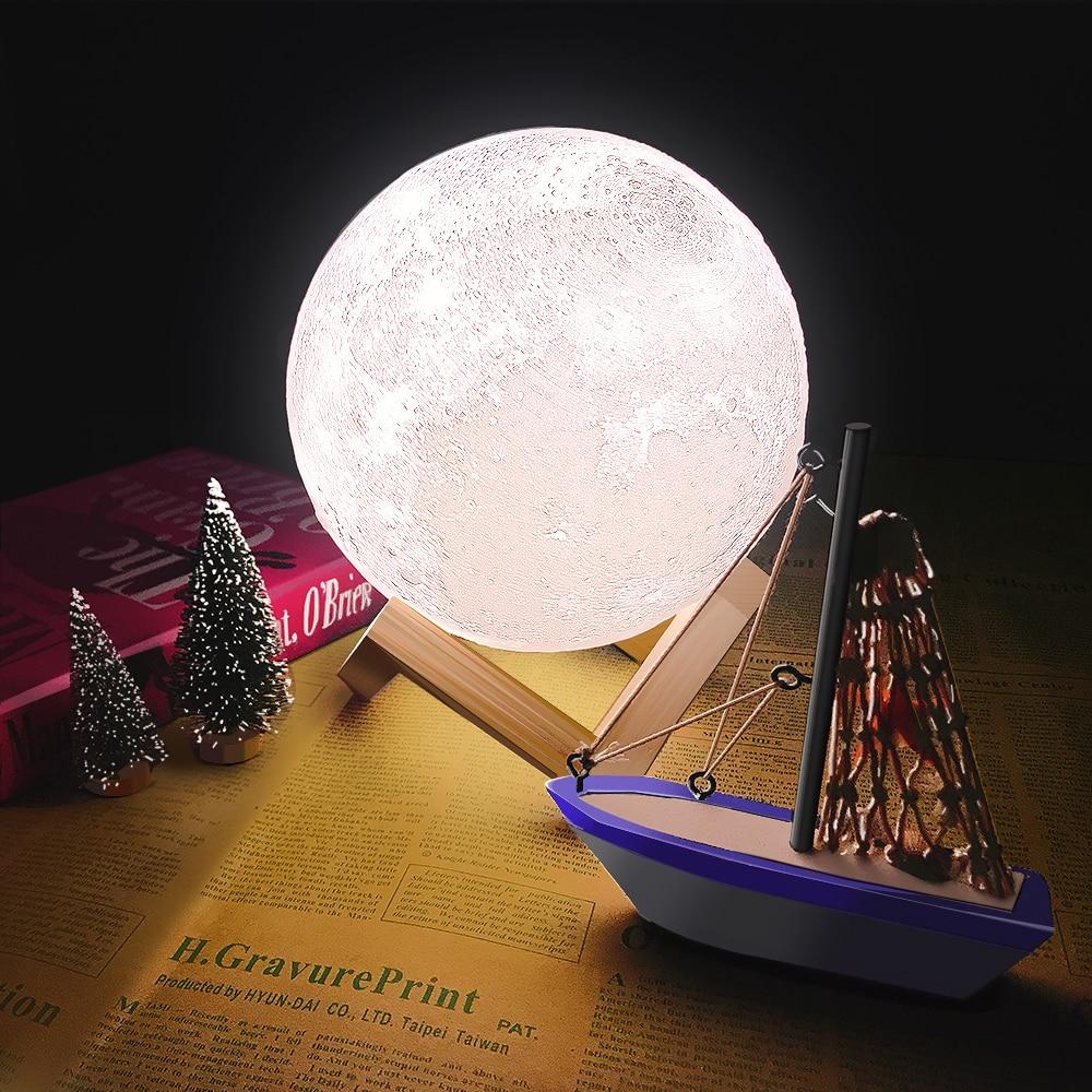 CHIZAO 3D Impressão LEVOU Luz Da Lua Da Terra Júpiter Quarto Home Decor Criativo Mood Night Light USB Recarga Controle de Toque Pat colorido