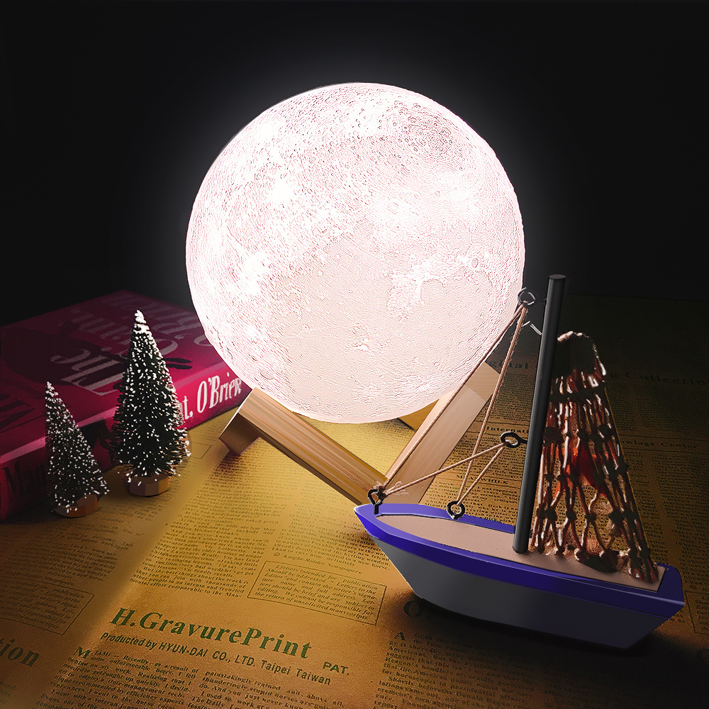 CHIZAO 3D Print LED Lamp Moon Earth Jupiter Home Bedroom Decor Creative Mood Night Light USB Recharge Touch Pat Control Colorful