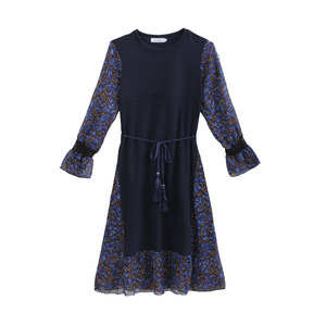 Image 3 - 2019 Autumn and Winter Floral Chiffon Knitted Nursing Dress For Pregnant Women Sweater Long sleeve Maternity Breastfeeding Dress