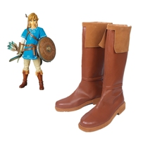 New Game The Legend of Zelda Breath the Wild Link Cosplay Boots Brown PU Leather Shoes Halloween Party for Women/Men