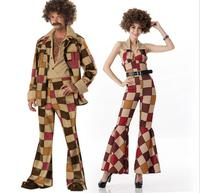 Free Shipping New Arrival Ladies men 60s 70s Retro Hippie Go Go Girl Disco Costume Hens Party Fancy Dress