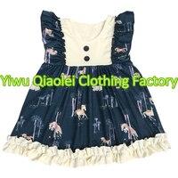 Nowy butik dla dzieci dziewczyny jednorożca wzór zachodniej sukienka hurtowych dzieci ubiera sukienki wiosna