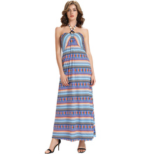 Blue A-Line Dress Summer Geometric Stripe Halter Sleeveless Ankle-Length Backless Sexy Chest Pad Pullover Elegant Fashion Dress