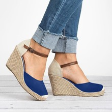 Women Shoes Suede Wedges High Ankle Sandals Round Toe Casual 2019 New Slope Head Sandalen