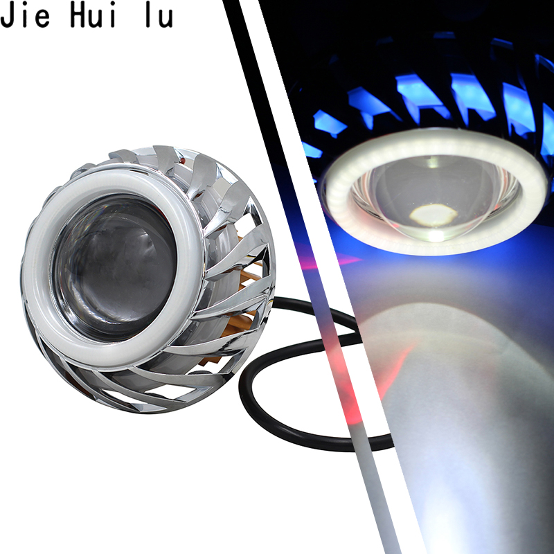 Motorbike Head 30W LED Angel Eyes Headlight Lens High Low Beam Mini Projector Demon Eyes DRL