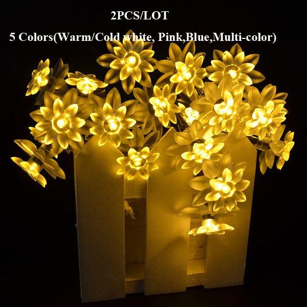 2pcs Lot 5m 20 Led Strip String Light Solar Energy Flower
