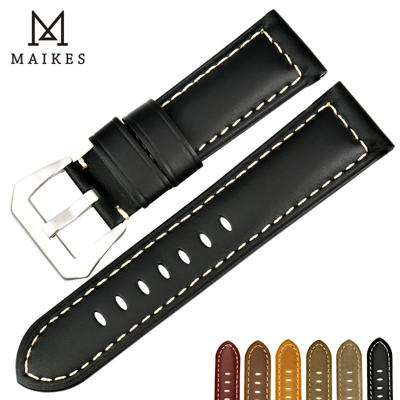 MAIKES New watchbands for garmin fenix 3 black genuine leather watch strap 22 24 26mm watch band watch accessories for Panerai  handmade leather watchbands version classic men black 24mm 26mm watchbands for panerai strap fast delivery