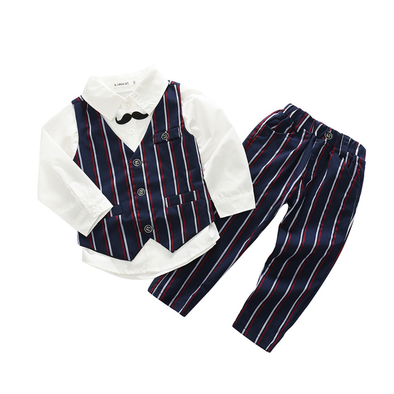 Baby Boys Gentlemen Clothing Set Toddler Babies Boy Formal Suit Bodysuit Casual Outfits Sets For Children Vest Suit Kids Clothes