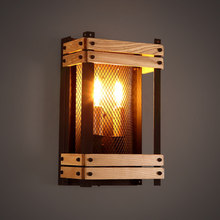 American Style Vintage Wall Lamp Restaurant Industrial Wall Lights Bar Retro Light Creative Loft Wood Luminaire Deco Lighting 2018 american village retro originality restaurant wall lamp chinese style wood bamboo personality home decor luminaria lights