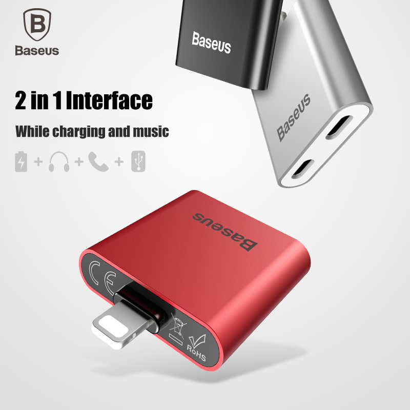 bilder für Baseus 2 in 1 Interface audio ladekabel adapter für blitz 2 ladebuchse für iPhone 7 7 plus musik aufruf daten sync