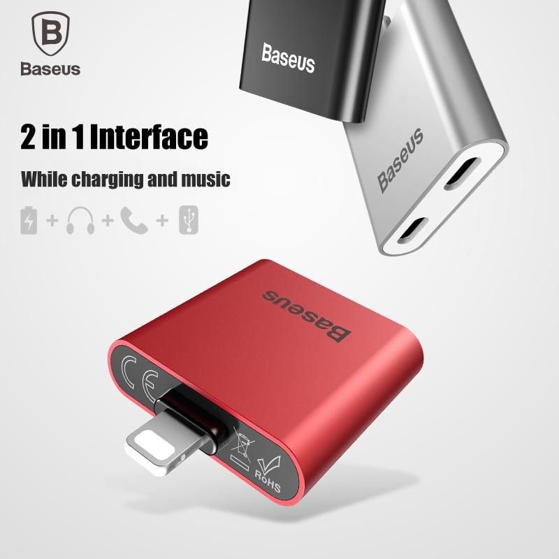 imágenes para De Baseus 2 en 1 Interfaz de audio adaptador de cable de carga de un rayo 2 conector de carga para el iPhone 7 plus 7 de música llamada de datos sync