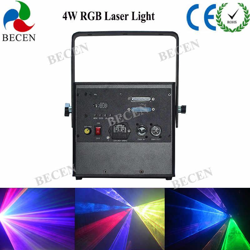 4 Вт RGB контройлер с управлением DMX полный Цвет ILDA Анимация Лазерный свет для ди-Джея свет для сцены парти свет 4 Вт 4000 МВт