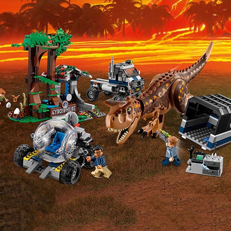 Тираннозавр Рекс мир Юрского периода 2 Carnotaurus Gyrosphere Escape Building Block игрушечные лошадки Совместимость Legoings динозавр фильм 75929