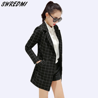 SWREDMI Long Women's Blazers Plaid Suit Coat 2019 Spring And Autumn Fashion Office Lady Blazer Work Wear Jacket