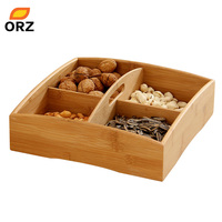 ORZ Bamboo Food Storage Box Snack Dish Portable Candy Nut Container Tray Decoration Grains Plate Party
