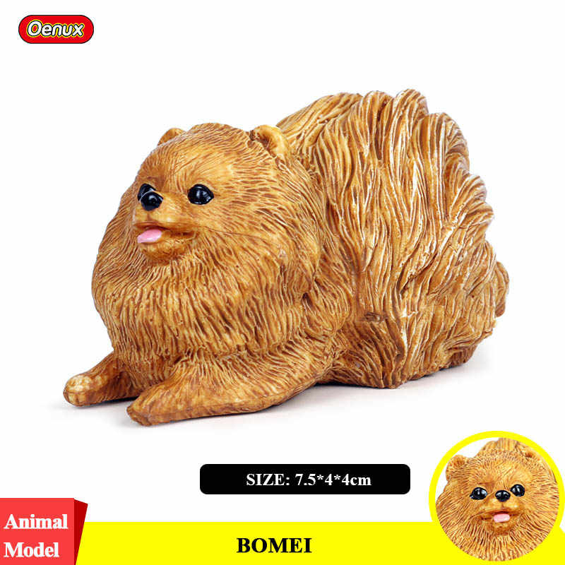 Oenux Classic Lovely Pomeranian Dog Animal Model Kawaii Pet Dog Action Figures PVC Home Decoration Educational ToyFor Kids Gift