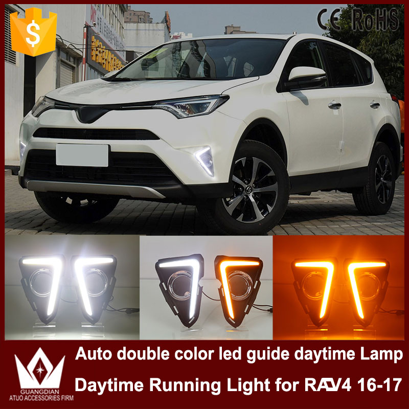 For toyota RAV4 2016 2017 DRL daytime running light with turn signal light function headlight fog lights led car day light