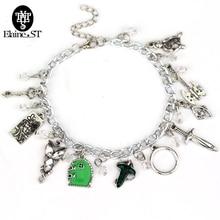 HOB Movie He Elven Leaf Arwen Charms Maxi Bracelet Elves Princess Aragorn Arwen Evenstar Collier Crystal beads bracelets