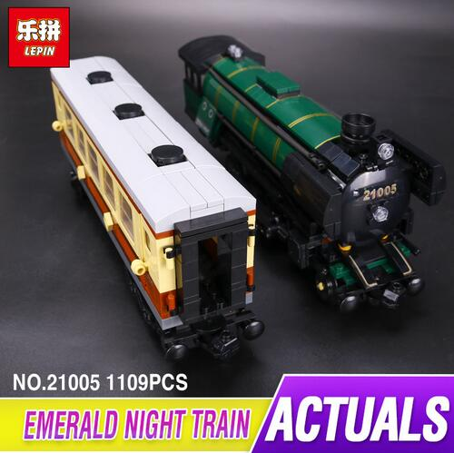 LEPIN 21005 series the Emerald Night model building blocks set Classic compatible Steam trains Funny Toys kids Christmas Gift 2016 new lepin 21005 creator series the emerald night model building blocks set classic compatible legoed steam trains toys