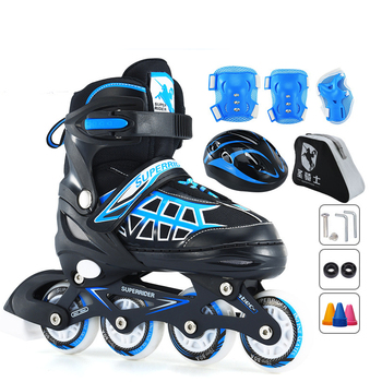 A Set Kids Inline Skate Shoes Roller Skating Shoes With Helmet Knee Protector Gear Adjustable PU Wheels Patines