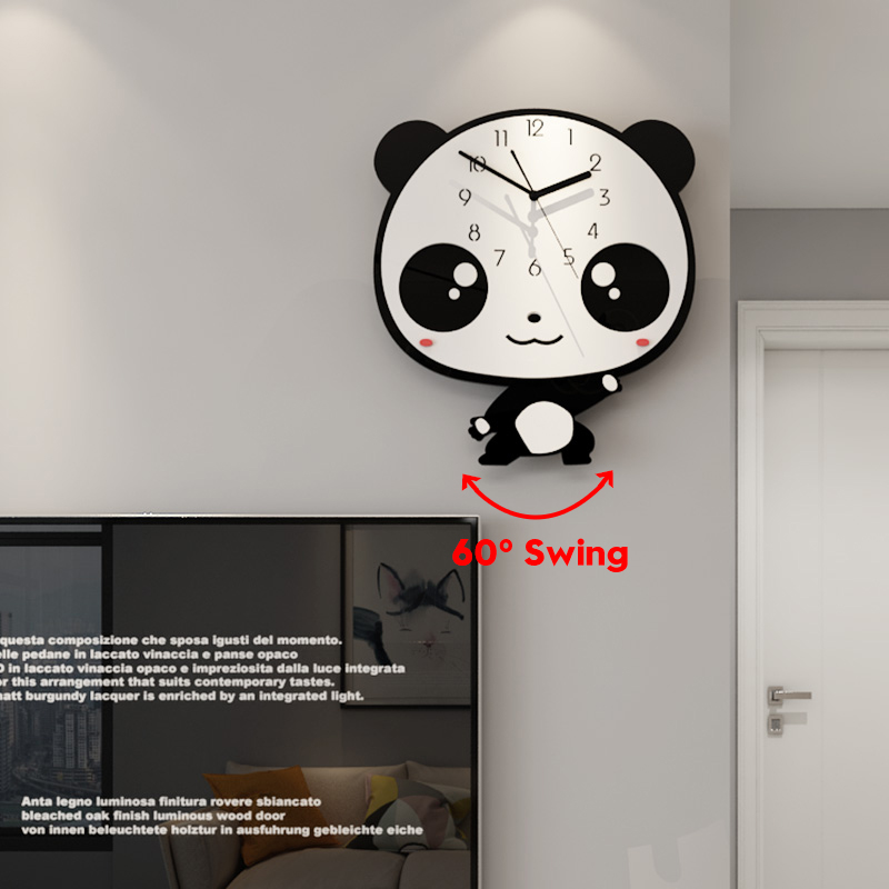 MEISD Lovely Cartoon Cute Panda Creative Wall Clock Modern Design 60° Swingable Kid Child Room Clocks Home Decor Free Shining