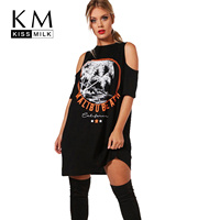 Kissmilk Plus Size Women T Shirt Dress Big Size Black Printed Cold Shoulder Dresses Sexy Lady