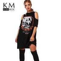Kissmilk 플러스 사이즈 여성 드레스 큰 사이즈 블랙 인쇄 차가운 어깨 드레스 섹시 레이디 큰 크기 Vestidos