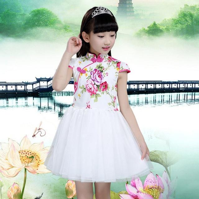 Summer Girls Princess Dress Chinese Style Short Sleeve Children Floral Print Dress Kids Net Yarn Dresses For Gills 4-13Years