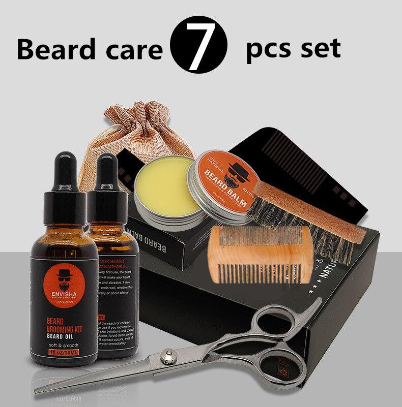 7pcs/set Men Barba Beard Kit Styling Tool Beard Essence Oil Comb Moustache Balm Moisturizing Wax Styling Scissors Beard Care Set 5