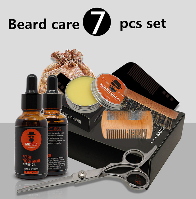 7pcs/set Men Barba Beard Kit Styling Tool Beard Essence Oil Comb Moustache Balm Moisturizing Wax Styling Scissors Beard Care Set 6