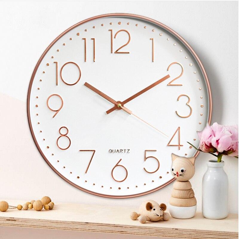12inch Rose Gold Hanging Clock Quartz Clock 3D Digital Clock Home Decor Living Room Wall Clocks Bedroom Rose Gold Wall Clock