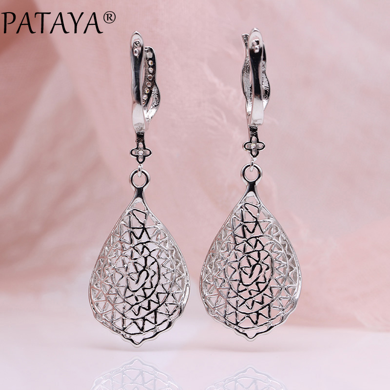PATAYA New Gift Trendy 585 Rose Gold White Gold Natural Zircon Long Earrings Women Wedding Hollow Irregular Wave Earring Jewelry 5