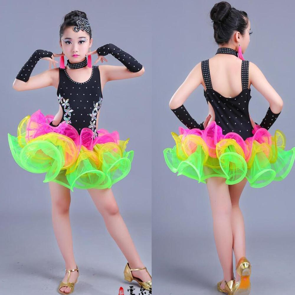 Children Jazz Latin Dance Wear Costumes Girls Sequined Ballroom Dancing Dress Kids Performance Salsa Latin Dance Outfits