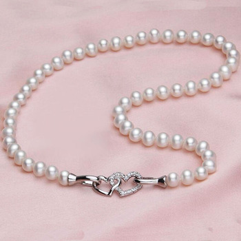 4aa253c13a63 Collar de cadena de plata DAIMI Natural 6-7mm collar de perlas de agua dulce  copa de estaño gargantilla collar regalo de cumpleaños para esposa